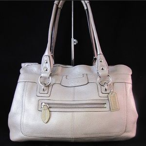Authentic Silver Coach Leather Penelope Bag